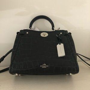 Coach mini gramercy satchel black croc leather